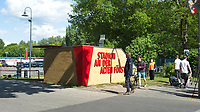 17th May 2020,Stadion An der Alten Försterei, Berlin, Germany; Bundesliga football, FC Union Berlin versus Bayern Munich;  fans gather outside the stadium to see the arrival of the team buses