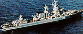"United States Department of Defense released its 1985 assessment of Soviet Military Power at the Pentagon in Washington, DC on April 2, 1985.  The release stated ""The SLAVA-Class guided-missile cruiser carries sixteen, 550-kilometer (342 miles) anti-ship cruise missiles as well as air-and point-defense missiles and a 130-mm twin-barrel gun.""<br /> Credit: Department of Defense via CNP"