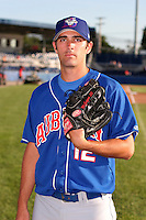 Auburn Doubledays Patrick McGuigan poses for a photo before a NY-Penn League game at Dwyer Stadium on August 9, 2006 in Batavia, New York.  (Mike Janes/Four Seam Images)