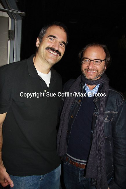 "Ryan's Hope's Fisher Stevens (Damages, Lost, Early Edition) poses with One Life To Live John Viscardi who stars as ""Mike McAlary"" in The Wood at the Rattlestick Playwrights Theater, New York City, New York. The photo was taken on Septermber 15, 2011 on opening night. Fisher Stevens came to see the play. (Photo by Sue Coflin/Max Photos)"