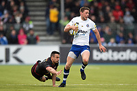 Rhys Priestland of Bath Rugby gets past Alex Lozowski of Saracens. Aviva Premiership match, between Saracens and Bath Rugby on April 15, 2018 at Allianz Park in London, England. Photo by: Patrick Khachfe / Onside Images