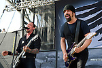 Rob Caggiano and Michael Poulsen of Volbeat perform during the 2013 Rock On The Range festival at Columbus Crew Stadium in Columbus, Ohio.