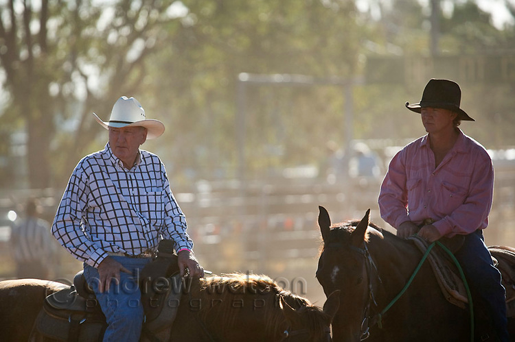 Cowboys on horseback during Mt Garnet Rodeo, Mt Garnet, Queensland, Australia