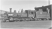 Fireman's-side view of D&amp;RGW #375 in front of Durango roundhouse.<br /> D&amp;RGW  Durango, CO  Taken by Kindig, Richard H. - 7/4/1938