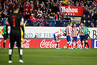 Moya, Godin, Miranda, Gabi and Mario Mandzukic of Atletico de Madrid during La Liga match between Atletico de Madrid and Villarreal at Vicente Calderon stadium in Madrid, Spain. December 14, 2014. (ALTERPHOTOS/Caro Marin) /NortePhoto