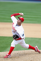 Reading Phillies relief pitcher Michael Cisco #16 delivers a pitch during a game against the New Hampshire Fisher Cats at FirstEnergy Stadium on May 5, 2011 in Reading, Pennsylvania.  New Hampshire defeated Reading by the score of 10-5.  Photo By Mike Janes/Four Seam Images