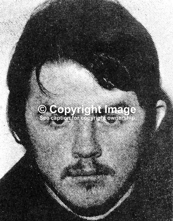 Thomas Anthony Martin Gorman, Dunmurry, Belfast, N Ireland, escapee, prison ship, Maidstone, moored in Belfast. 19th January 1972. 197201190045TG.<br />