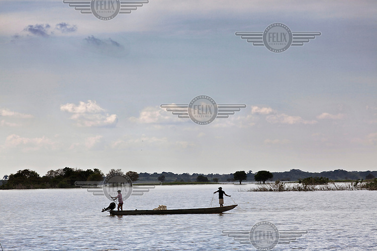 Fishermen using a trasmallo net on the Cienaga de Zapatosa marsh which covers 40,000 hectares. The nets are illegal as they do not discriminate between fish that are consumed and those that are not but are in common use as the law is not enforced. /Felix Features
