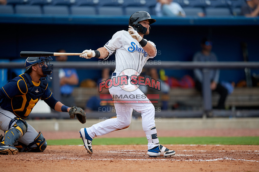 Biloxi Shuckers Cooper Hummel (9) at bat during a Southern League game against the Montgomery Biscuits on May 8, 2019 at MGM Park in Biloxi, Mississippi.  Biloxi defeated Montgomery 4-2.  (Mike Janes/Four Seam Images)