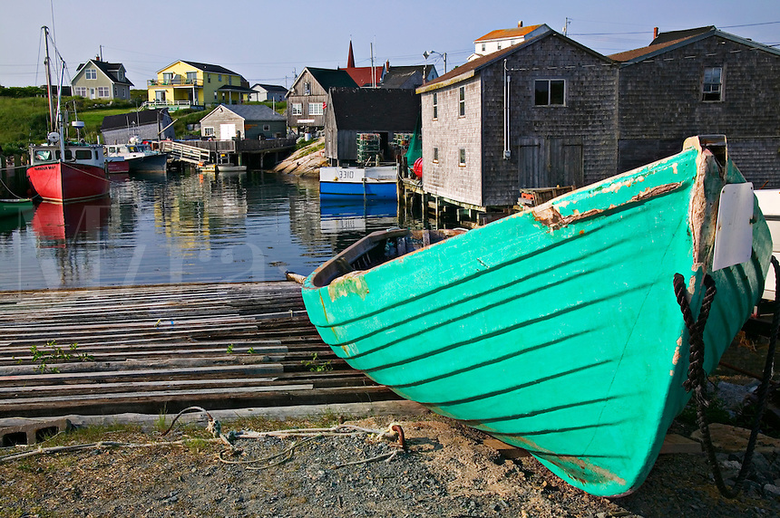 Green boat Peggy's cove