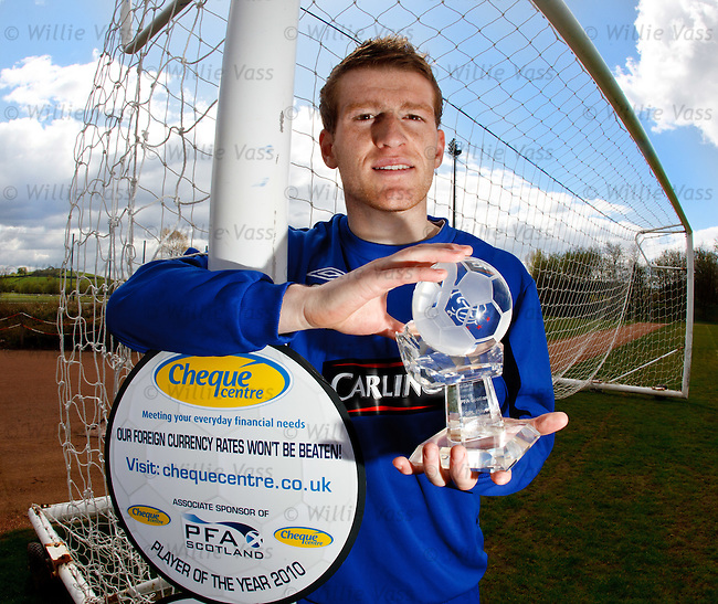 Steven Davis at Murray Park with his PFA Player of the Year award
