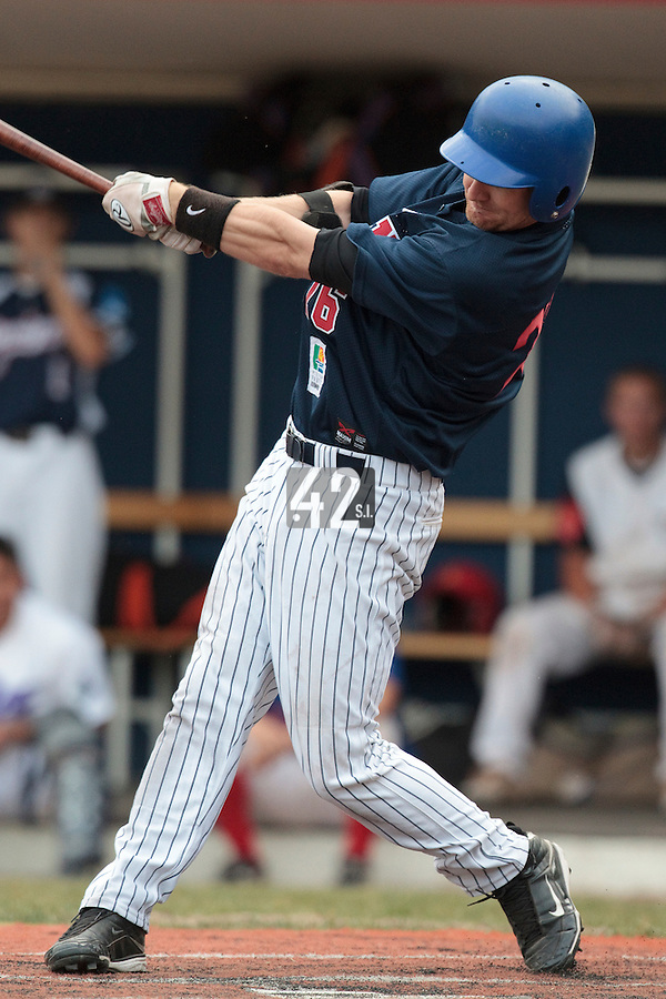 13 July 2010: Aaron Hornostaj of Team All Star Elite is seen at bat during day 1 of the Open de Rouen, an international tournament with Team France, Team Saint Martin, Team All Star Elite, at Stade Pierre Rolland, in Rouen, France.