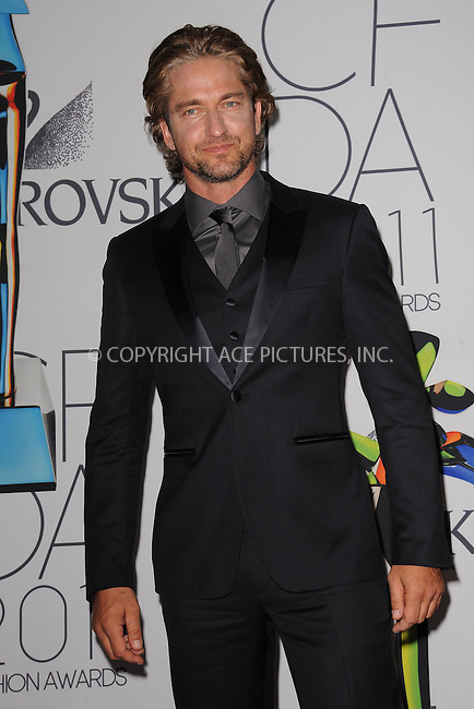 WWW.ACEPIXS.COM . . . . . .June 6, 2011...New York City.....Gerard Butler attends the 2011 CFDA Fashion Awards at Alice Tully Hall, Lincoln Center on June 6, 2011 in New York City......Please byline: KRISTIN CALLAHAN - ACEPIXS.COM.. . . . . . ..Ace Pictures, Inc: ..tel: (212) 243 8787 or (646) 769 0430..e-mail: info@acepixs.com..web: http://www.acepixs.com .