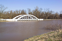 "The Flooded ""Bush Creek Marsh Arch Rainbow Bridge"" on Old Route 66 in Riverton, Kansas. This is the high water result of the 100 year flood in March 2008. Shot looking North."
