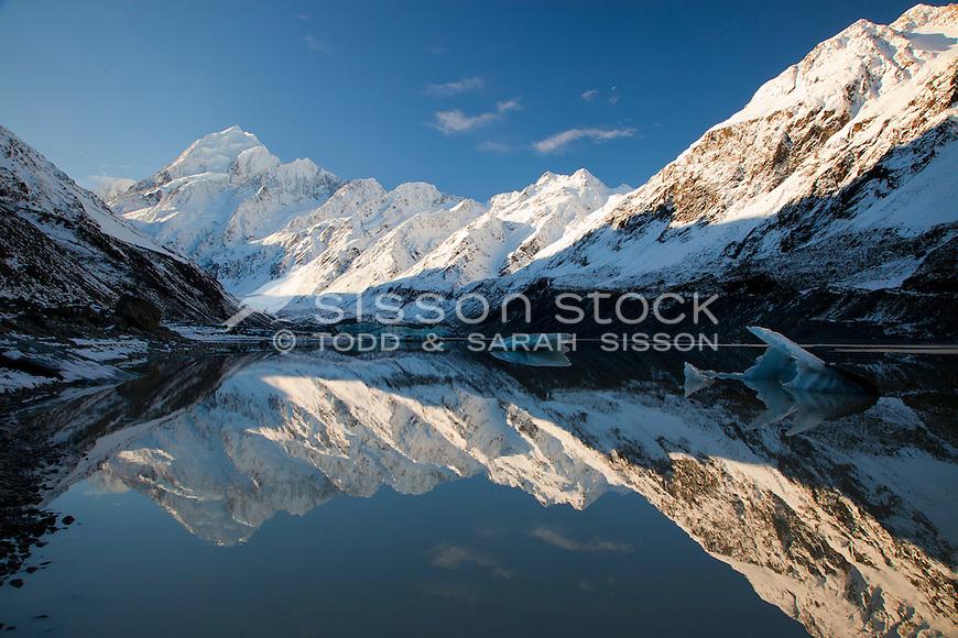 Reflection of Mt Cook / Aoraki in Hooker Lake, Winter, South Island