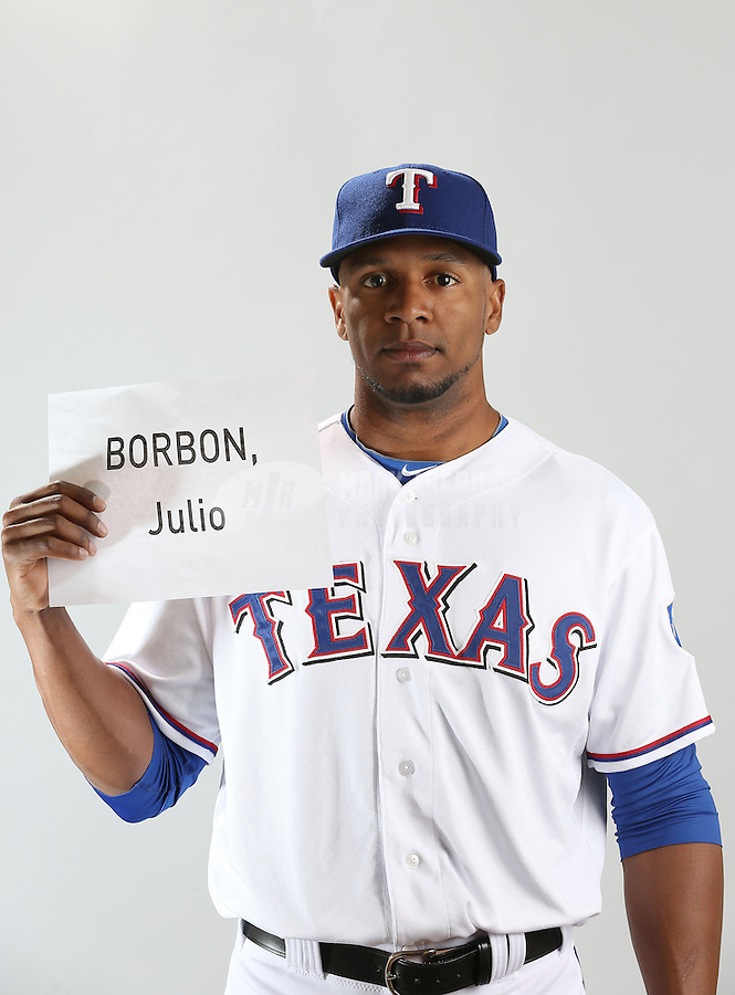 Feb. 20, 2013; Surprise, AZ, USA: Texas Rangers outfielder Julio Borbon poses for a portrait during photo day at Surprise Stadium. Mandatory Credit: Mark J. Rebilas-