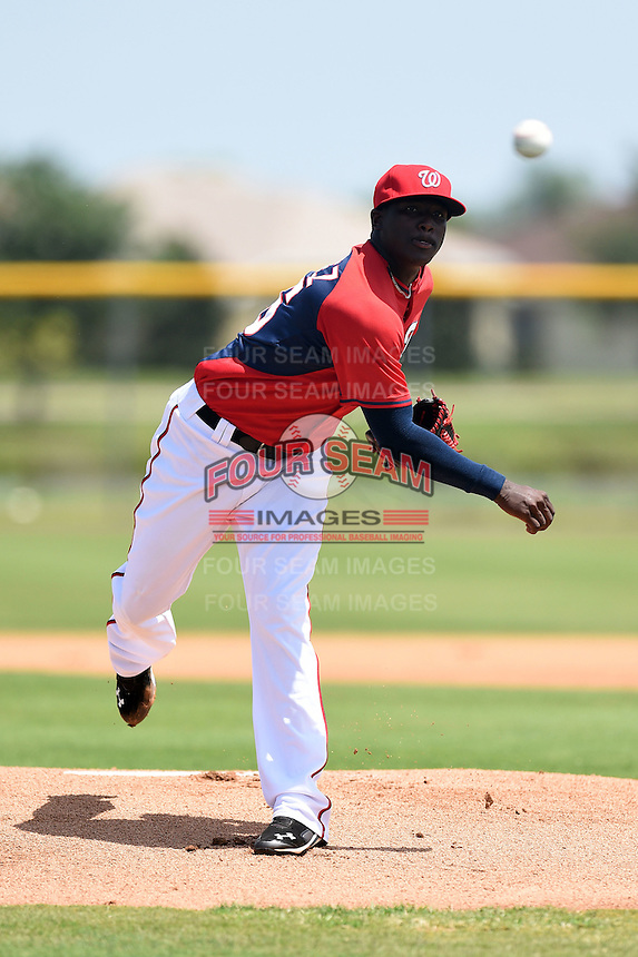 GCL Nationals pitcher Wirkin Estevez (66) delivers a pitch during a game against the GCL Marlins on June 28, 2014 at the Carl Barger Training Complex in Viera, Florida.  GCL Nationals defeated the GCL Marlins 5-0.  (Mike Janes/Four Seam Images)