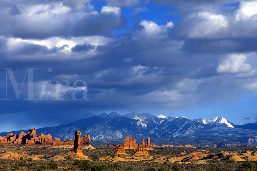 Redrock formations and snow-capped LaSal mountains in Arches National Park, Utah. Utah, Arches National Park.