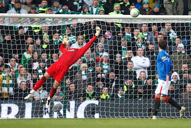Allan McGregor tips over a rasping Samaras shot towards the end of the match