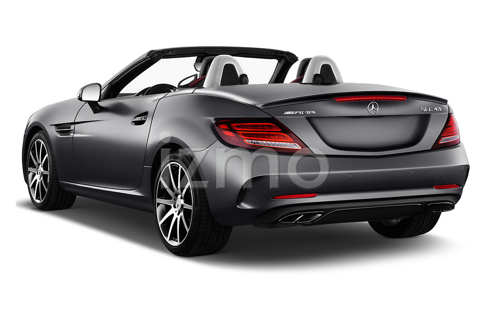 Car pictures of rear three quarter view of 2017 Mercedes Benz SLC AMG 2 Door Convertible Angular Rear