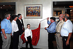 Deputy Jackie Healy-Rae unveils the now famous turf burning pikemen painting by  Roger McCarthy of their final rally at The Malton Hotel, Killarney on Sunday evening. The painting is now hanging prominently in the hotel bar. Also included in the picture are Risteird O'Lionaird. Mayor of Kerry Michael healy-Rae, Conor Hennigan, Manager, The Malton Hotel, Jackie Healy-Rae jnr, Michael O'Shea and Danny Healy-Rae, MCC,  .<br />