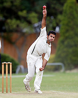 Sneh Shah bowls for Wembley during the Middlesex Cricket League Division Two game between Brondesbury and Wembley at Harman Drive, London on Sat Aug 1, 2015