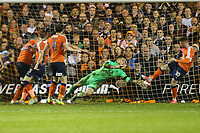 Goalkeeper Stuart Moore of Luton Town (2nd right) is helpless to stop Jordan Cook of Luton Town's (right) clearance going in the goal off his back to hand victory to Blackpool in the Sky Bet League 2 Play Off Semi Final 2 leg match between Luton Town and Blackpool at Kenilworth Road, Luton, England on 18 May 2017. Photo by David Horn.