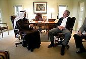 United States President George W. Bush visits with Crown Prince Abdullah bin Abdul-Aziz Al Saud of Saudi Arabia, Monday, April 25, 2005, at the President's ranch in Crawford, Texas.  .Mandatory Credit: Eric Draper / White House via CNP
