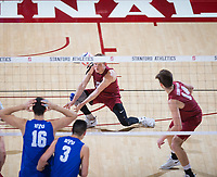 STANFORD, CA - March 2, 2019: Jordan Ewert, Kyler Presho at Maples Pavilion. The Stanford Cardinal defeated BYU 25-20, 25-20, 22-25, 25-21.