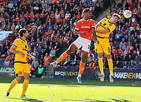 Blackpool's Joe Nuttall beats Milton Keynes Dons' Regan Poole to a header<br /> <br /> Photographer Alex Dodd/CameraSport<br /> <br /> The EFL Sky Bet League One - Blackpool v MK Dons  - Saturday September 14th 2019 - Bloomfield Road - Blackpool<br /> <br /> World Copyright © 2019 CameraSport. All rights reserved. 43 Linden Ave. Countesthorpe. Leicester. England. LE8 5PG - Tel: +44 (0) 116 277 4147 - admin@camerasport.com - www.camerasport.com