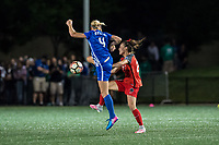 Boston, MA - Friday May 19, 2017: Megan Oyster and Mallory Weber during a regular season National Women's Soccer League (NWSL) match between the Boston Breakers and the Portland Thorns FC at Jordan Field.
