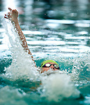 Cottonwood's Connor Morgan competes in the 50 yard back race during the 53rd annual Country Club Swimming Championships on Tuesday, Aug. 7, 2012, in Kearns, Utah. (© 2012 Douglas C. Pizac)