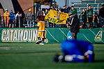 26 October 2019: University of Vermont Catamount mascot Rally Cat celebrates a win over the University of Massachusetts Lowell River Hawks at Virtue Field in Burlington, Vermont. The Catamounts rallied to defeat the River Hawks 2-1, propelling the Cats to the America East Division 1 conference playoffs. Mandatory Credit: Ed Wolfstein Photo *** RAW (NEF) Image File Available ***