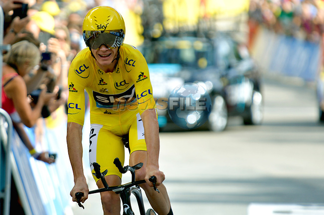Yellow Jersey race leader Christopher Froome (GBR) Team Sky crosses the finish line to win Stage 18 of the 2016 Tour de France a17km individual mountain time trial from Sallanches to Megeve, France. 21st July 2016.<br />