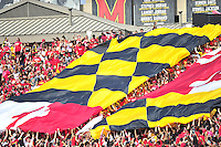 The Maryland Pride flag is unfurled during intermission. Maryland defeated Richmond 50-21 during home season opener at the Byrd Stadium in College Park, MD on Saturday, September 5, 2015.  Alan P. Santos/DC Sports Box