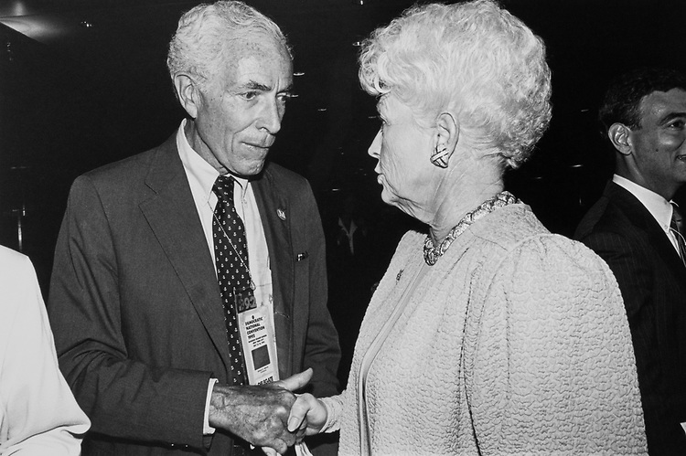 Sen. Claiborne Pell, D-R.I., greets Governor Ann Richards, D-Tex., at an Emily's List fundraiser at the Democratic National Convention on July 20, 1992. (Photo by Laura Patterson/CQ Roll Call)