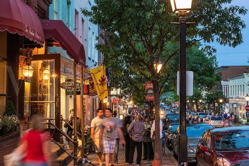 Busy shops along King Street in Old Town Alexandria, Virginia, USA