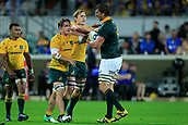 9th September 2017, nib Stadium, Perth, Australia; Supersport Rugby Championship, Australia versus South Africa; Even Etzebeth of the South African Springboks remonstrates with the Wallabies during the second half