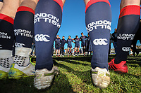 London Scottish players in a huddle after the Greene King IPA Championship match between London Scottish Football Club and Bedford Blues at Richmond Athletic Ground, Richmond, United Kingdom on 25 March 2017. Photo by David Horn / PRiME Media Images.
