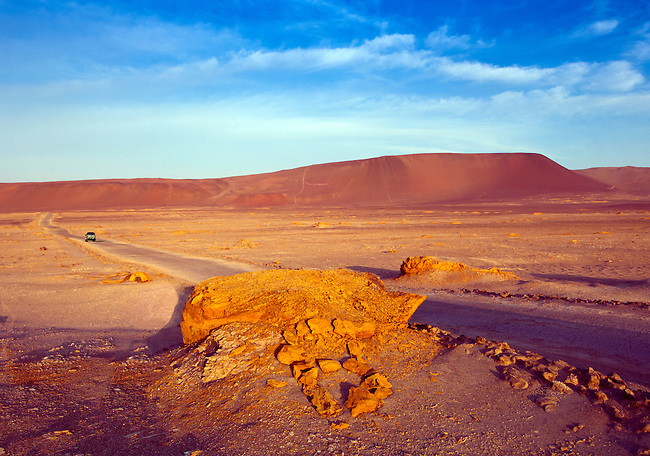 Colorful desert landscape of the Paracas National Reserve, a subtropical coastal desert in southern Peru.