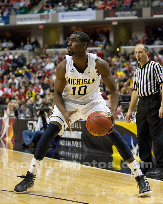 The University of Michigan men's basketball team defeated Minnesota, 73-69 (OT), in the second round of the Big Ten Championships at Bankers Life Fieldhouse in Indianapolis, Ind., on March 9, 2012.