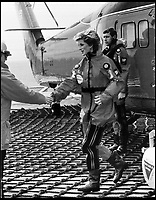 BNPS.co.uk (01202 558833)Pic: QueensFlightArchives1985 - Princess Diana visits the BP oil rig 'Charlies Darling' in a Queens Flight Wessex.<br /> <br /> A new book gives an intimate look behind the scenes of the Royal Flight and also the flying Royals.<br /> <br /> Starting in 1917 the book charts in pictures the 100 year evolution of first the King's Flight and then later the Queen's Flight as well as the Royal families passion for aviation.<br /> <br /> Author Keith Wilson has had unprecedented access to the Queen's Flight Archives to provide a fascinating insight into both Royal and aeronautical history.