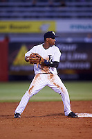 Tampa Yankees second baseman Abiatal Avelino (22) looks to first after a force out during a game against the Lakeland Flying Tigers on April 8, 2016 at George M. Steinbrenner Field in Tampa, Florida.  Tampa defeated Lakeland 7-1.  (Mike Janes/Four Seam Images)