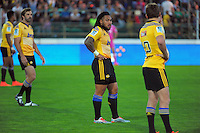 Beauden Barrett calls a move to Ma'a Nonu during the Super Rugby match between the Hurricanes and Blues at FMG Stadium, Palmerston North, New Zealand on Friday, 13 March 2015. Photo: Dave Lintott / lintottphoto.co.nz