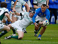 Photo: Richard Lane/Richard Lane Photography. Ireland U20 v Italy U20. Semi Final. 18/06/2008. Ireland's Paul Ryan and Italy's Simone Favaro challenge for the ball.
