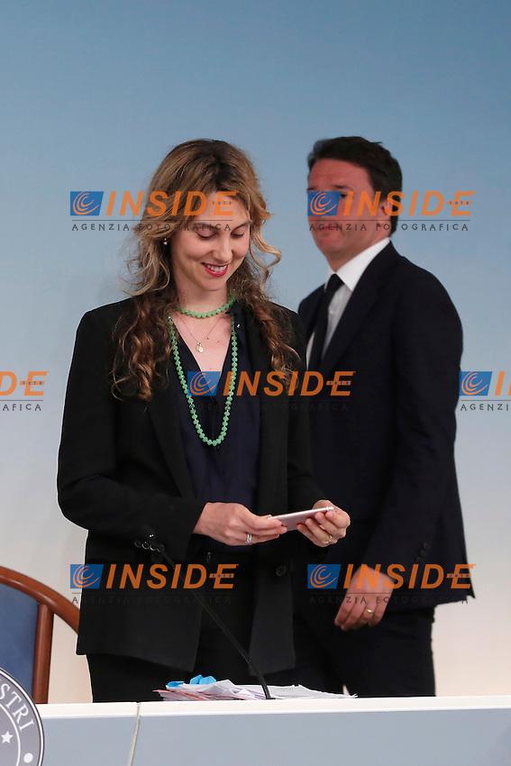 Marianna Madia e Matteo Renzi<br /> Roma 15-06-2016  Palazzo Chigi. Consiglio dei Ministri, CDM.<br /> Rome 15th June 2016. Press conference at the end of Minister's cabinet<br /> Photo Samantha Zucchi Insidefoto