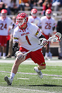 College Park, MD - April 8, 2017: Maryland Terrapins Matt Rambo (1) looks to pass the ball during game between Penn State and Maryland at  Capital One Field at Maryland Stadium in College Park, MD.  (Photo by Elliott Brown/Media Images International)