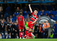 Huddersfield Town's Alex Pritchard celebrates at the final whistle <br /> <br /> Photographer Craig Mercer/CameraSport<br /> <br /> The Premier League - Chelsea v Huddersfield Town - Wednesday 9th May 2018 - Stamford Bridge - London<br /> <br /> World Copyright &copy; 2018 CameraSport. All rights reserved. 43 Linden Ave. Countesthorpe. Leicester. England. LE8 5PG - Tel: +44 (0) 116 277 4147 - admin@camerasport.com - www.camerasport.com
