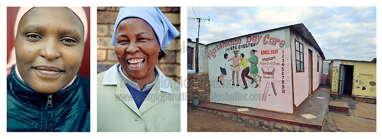 """Two women pose in the Mamelodi township in Irene, Johannesburg.<br /> <br /> """"Where we live, where we leave"""".<br /> Faces and places in Johannesburg.<br /> South Africa, 2010.<br /> <br /> © Giorgio Perottino"""