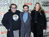 03 March 2019 - New York, New York - Julian Schnabel, Oscar Isaac and Louise Kugelberg. The World Premiere of &quot;Triple Frontier&quot; at Jazz at Lincoln Center. <br /> CAP/ADM/LJ<br /> &copy;LJ/ADM/Capital Pictures